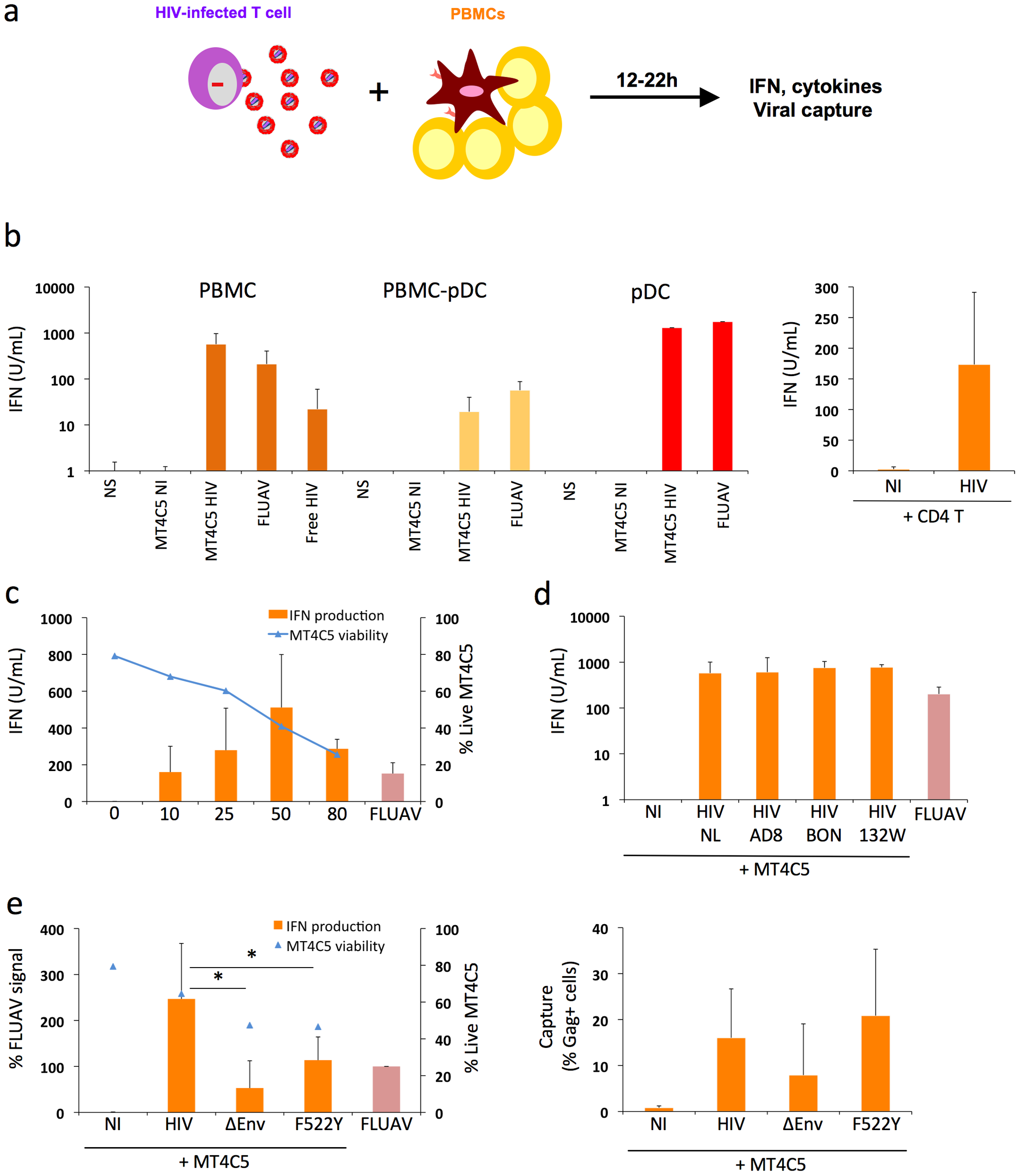 Sensing of HIV-infected lymphocytes by hematopoïetic cells.