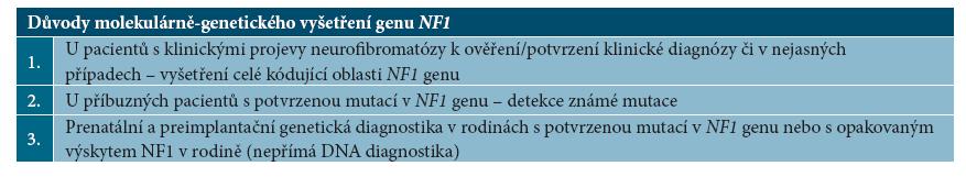 Indikace molekulárně-genetického vyšetření genu NF1