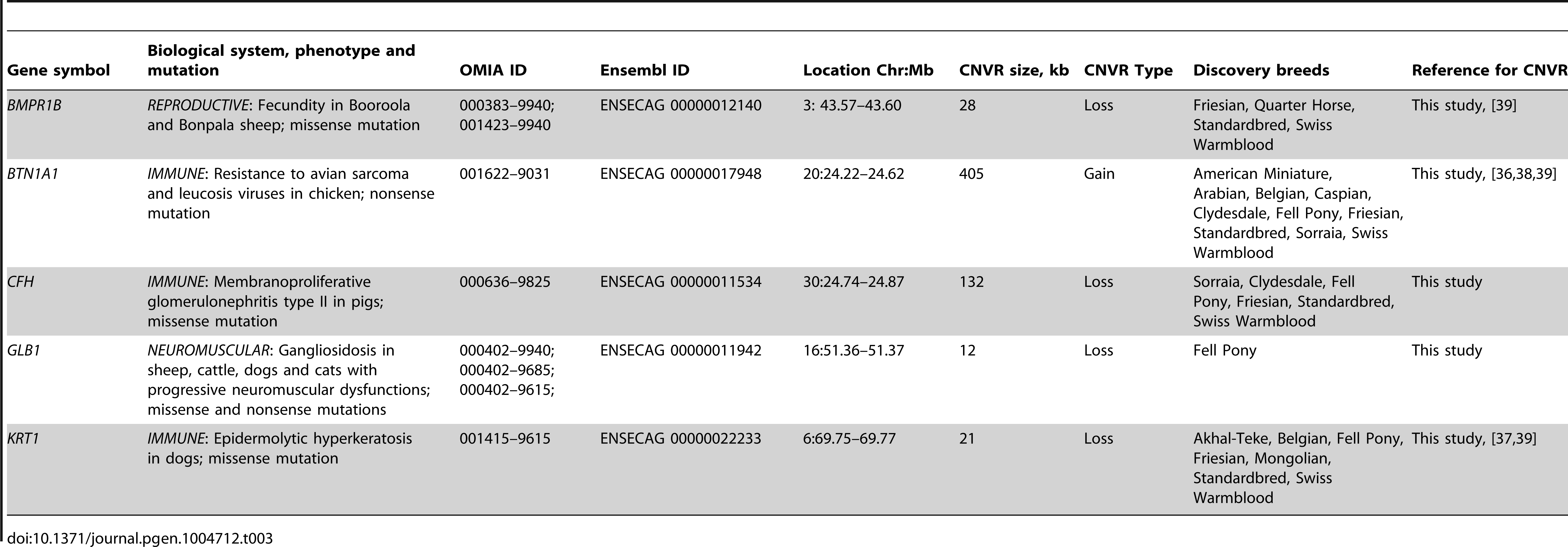 """Equine copy number variable genes with known mammalian phenotypes (OMIA; <a href=""""http://omia.angis.org.au/home/"""">http://omia.angis.org.au/home/</a>)."""