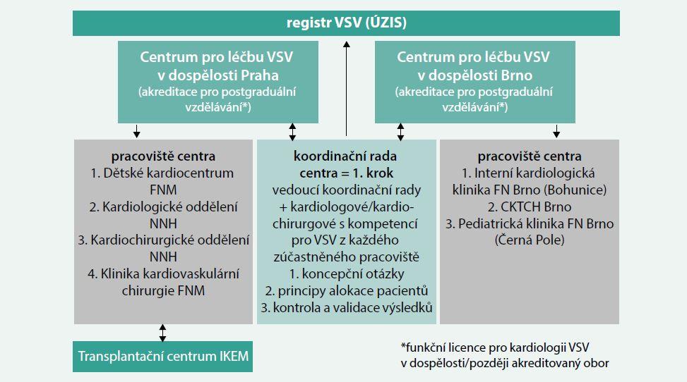 Schéma. Návrh organizační struktury center pro léčbu vrozených srdečních vad (VSV) v dospělosti