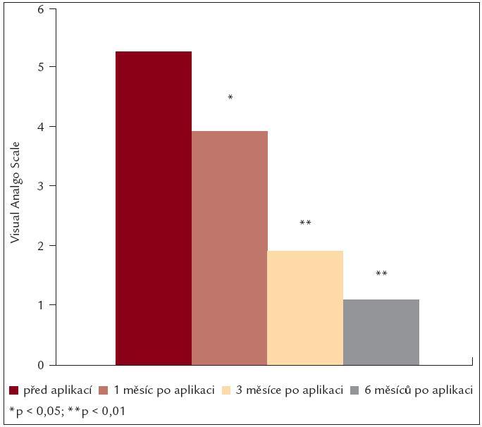 Redukce plochy defektu po aplikaci kmenových buněk.