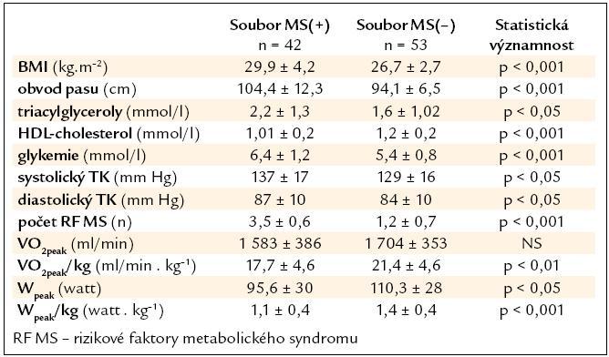 Vstupní hodnoty parametrů metabolického syndromu, aerobní kapacity a výkonnosti.
