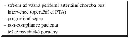 Kontraindikace zevní fixace u syndromu diabetické nohy Tab. 2. Contraindications of external fixation in the diabetic foot syndrome