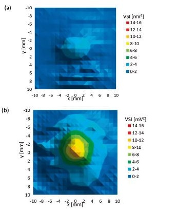 Planar xy scan behind particular culture dish (a) glass culture dish, (b) plastic culture dish (40 mm diameter).