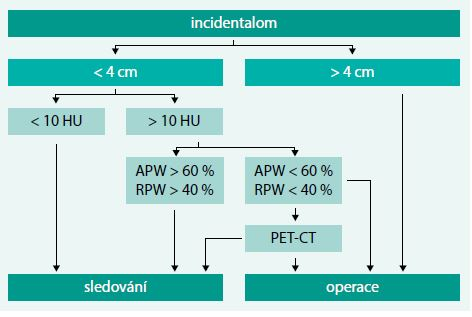 Schéma 1. Zobrazovací vyšetření u incidentalomu nadledviny