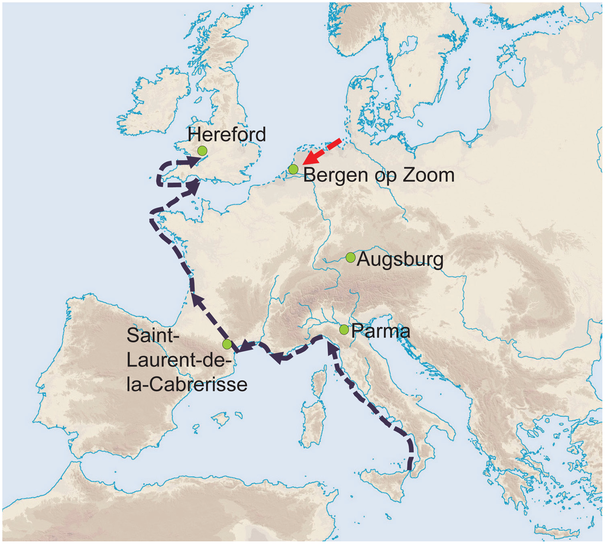 Geographical position of the five archaeological sites investigated.