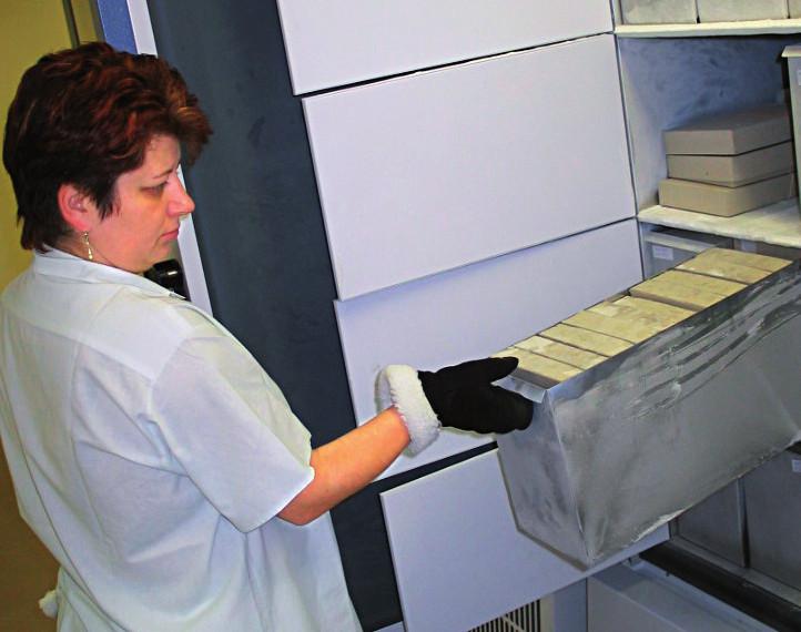 Skladování kryokonzervovaných erytrocytů v ochranných kartonových obalech.