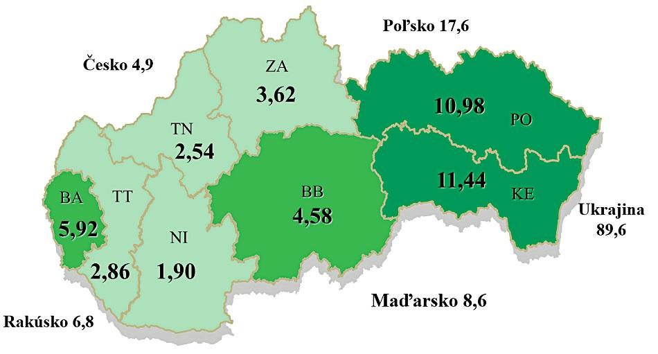 Výskyt tuberkulózy na Slovensku a v okolitých krajinách podľa geografického rozčlenenia v r. 2015 (Zdroj: NRT).