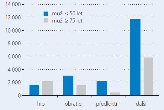 Odhadovaný počet fraktur – muži rok 2010 ČR [2].