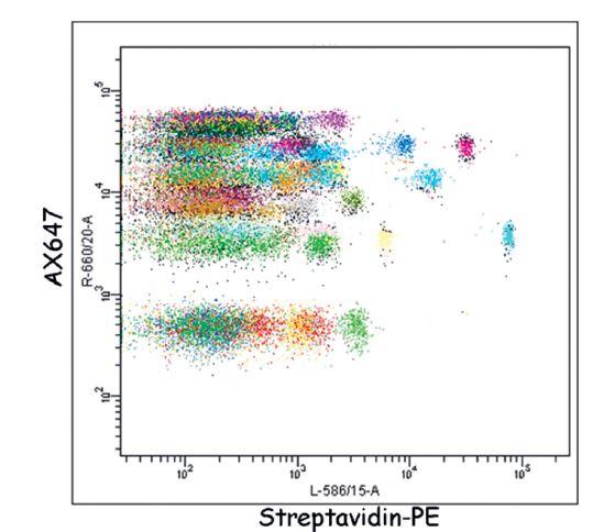Ukázka detekce proteinů pomocí SEC-MAP Arraye. Hladina exprese (osa x, měřená jako medián intenzity fluorescence detekční reagencie streptavidin-PE) 576 proteinů v leukemické linii REH. Proteiny byly specificky imunoprecipitovány 576 protilátkami navázanými na fluorescenčních mikrokuličkách (různobarevně) SEC-MAP arraye.