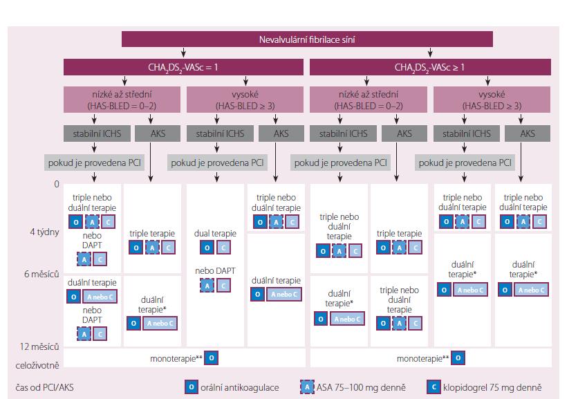 Konsensus doporučení pro management pacientů s nevalvulární FS a AKS s prodělaným PCI ev. s implantací stentu. Upraveno dle [5].Konsensus doporučení pro management pacientů s nevalvulární FS a AKS s prodělaným PCI ev. s implantací stentu. Upraveno dle [5].