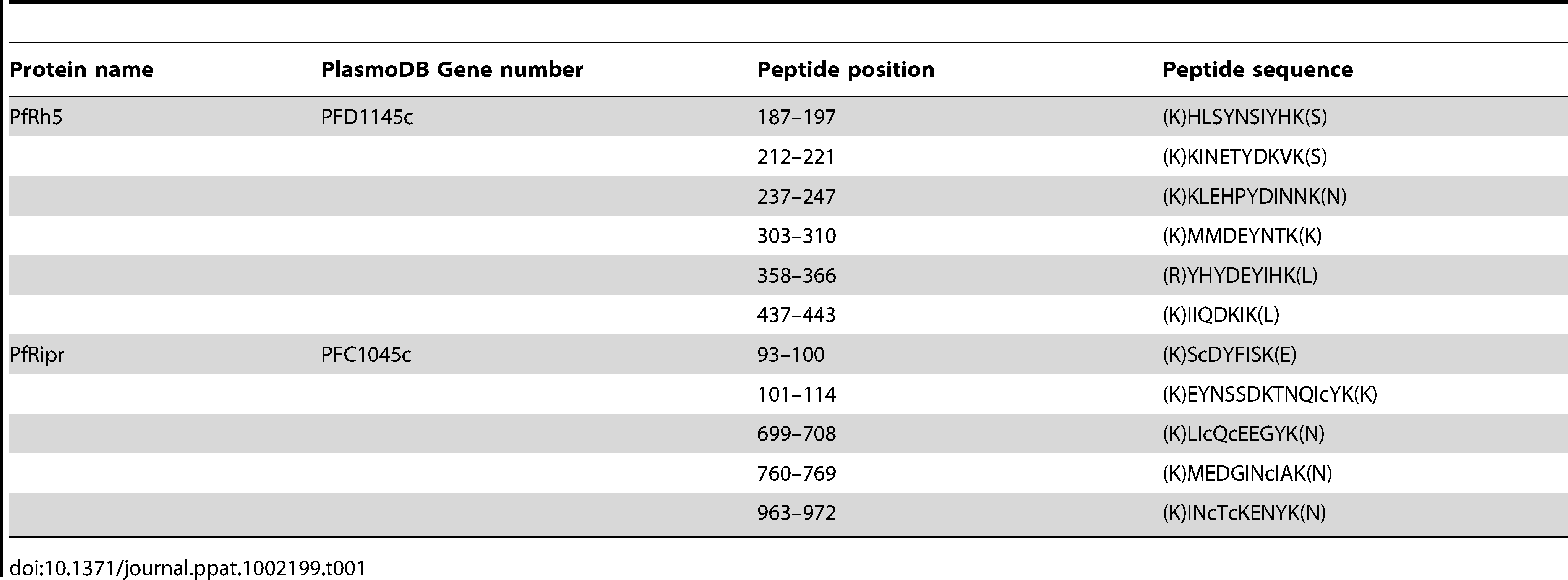 Peptides identified by Mass spectrometry from purified PfRh5.