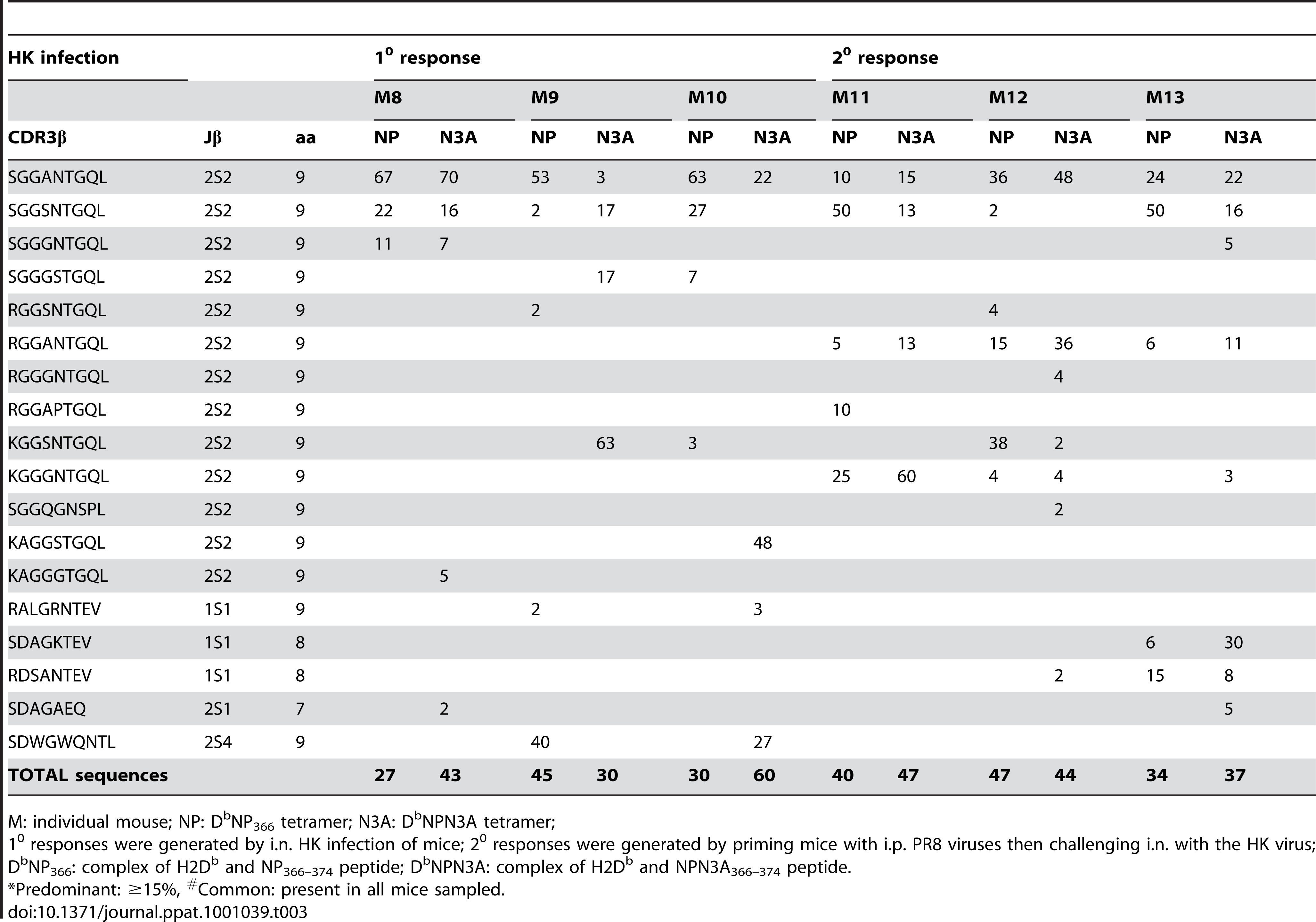 Frequency of TCRβ clonotypes in D<sup>b</sup>NP<sub>366</sub><sup>+</sup>Vβ8.3<sup>+</sup>CD8<sup>+</sup> T cells after 1<sup>0</sup> (M8–M10) and 2<sup>0</sup> (M11–M13) wt influenza virus infection detected with either the D<sup>b</sup>NP<sub>366</sub><sup>+</sup> or D<sup>b</sup>NPN3A<sup>+</sup> tetramer.