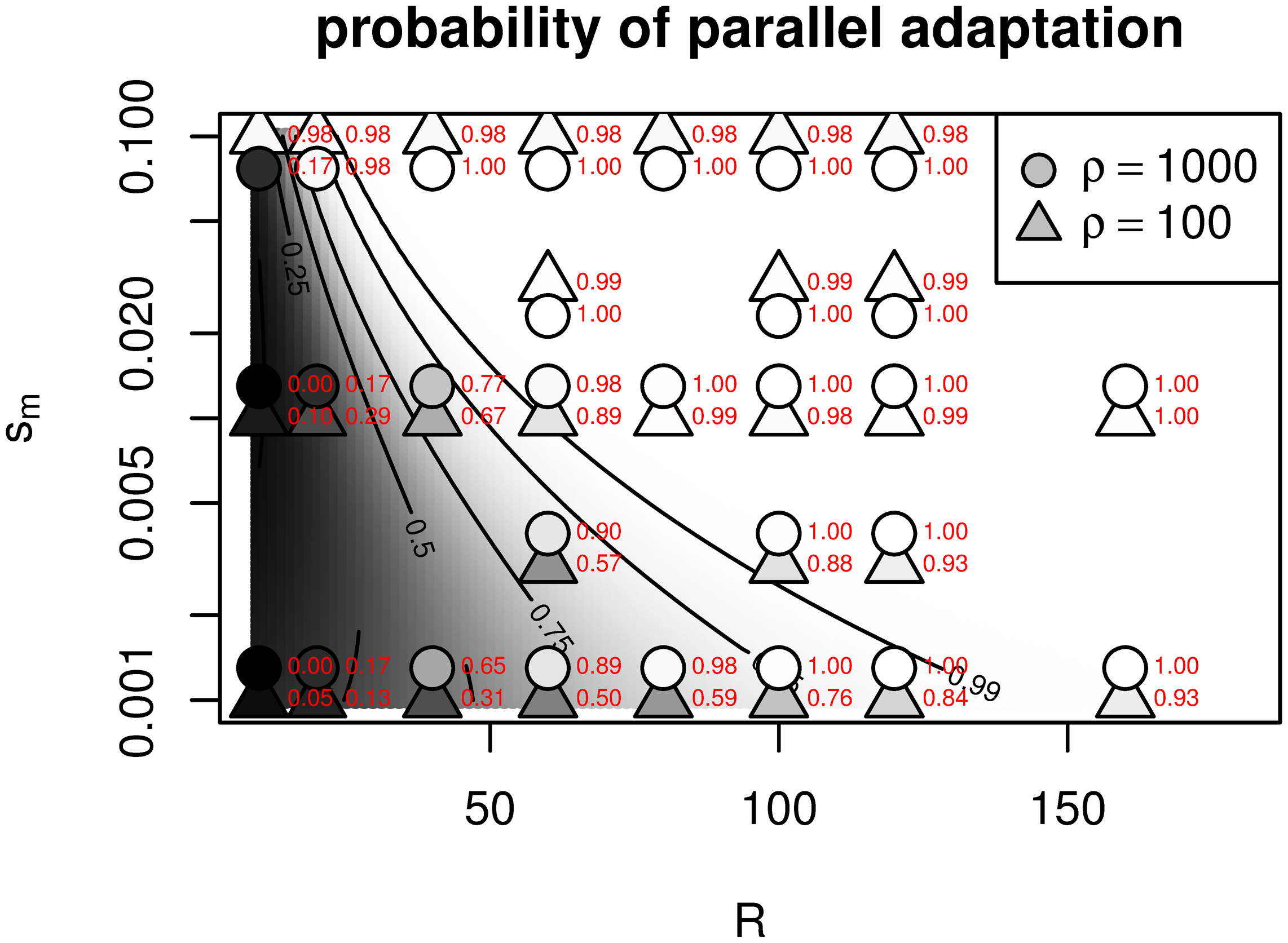 Probability that two patches evolve by independent mutations (i.e., convergently), as a function of their geographic separation (<i>R</i>) and the strength of selection between patches (<i>s</i><sub><i>m</i></sub>).