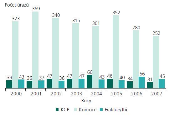 Rozložení úrazů v období I/2000–XII/2007.
