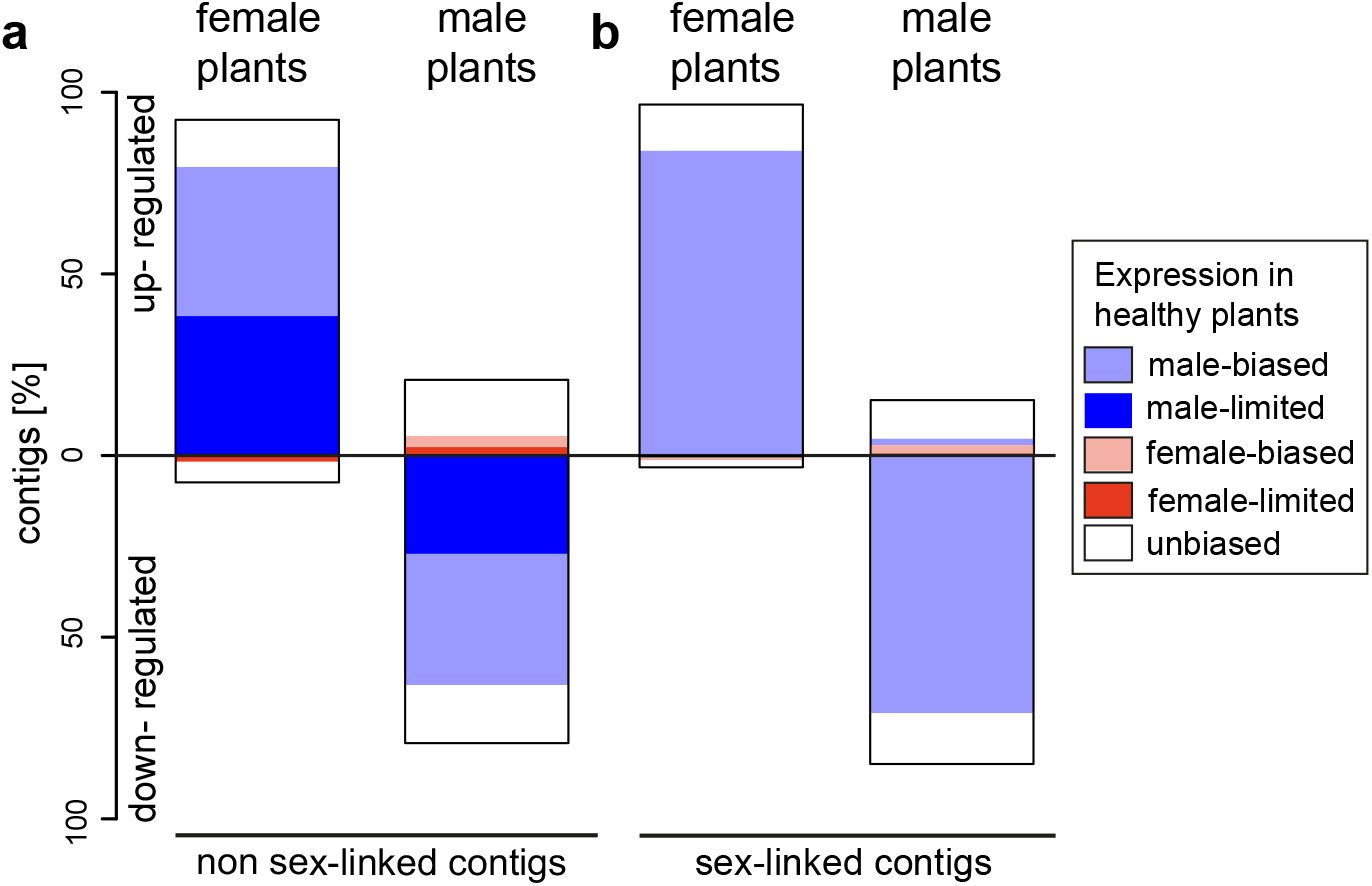 Gene expression changes following infection with <i>M</i>. <i>lychnidis-dioicae</i> in female and male plants of <i>S</i>. <i>latifolia</i> for non sex-linked and sex-linked contigs.