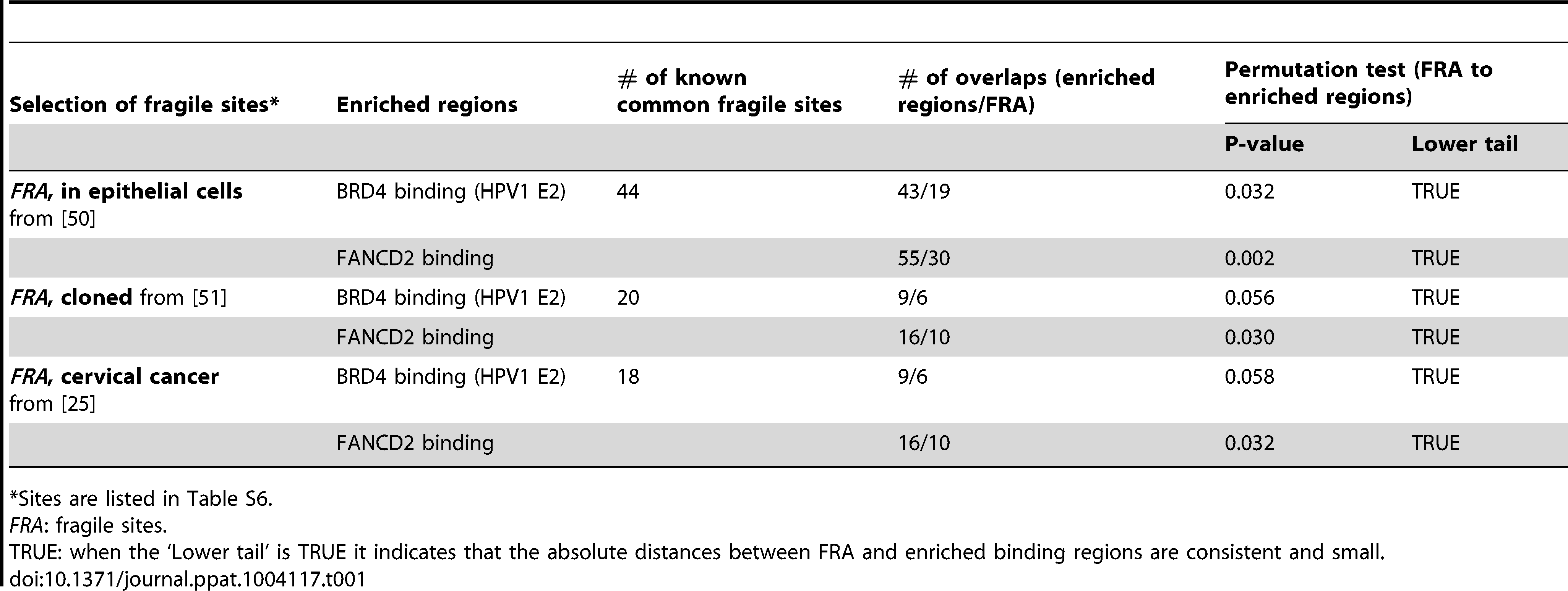 Association of common fragile sites with PEB-BLOCs and FANCD2 binding.