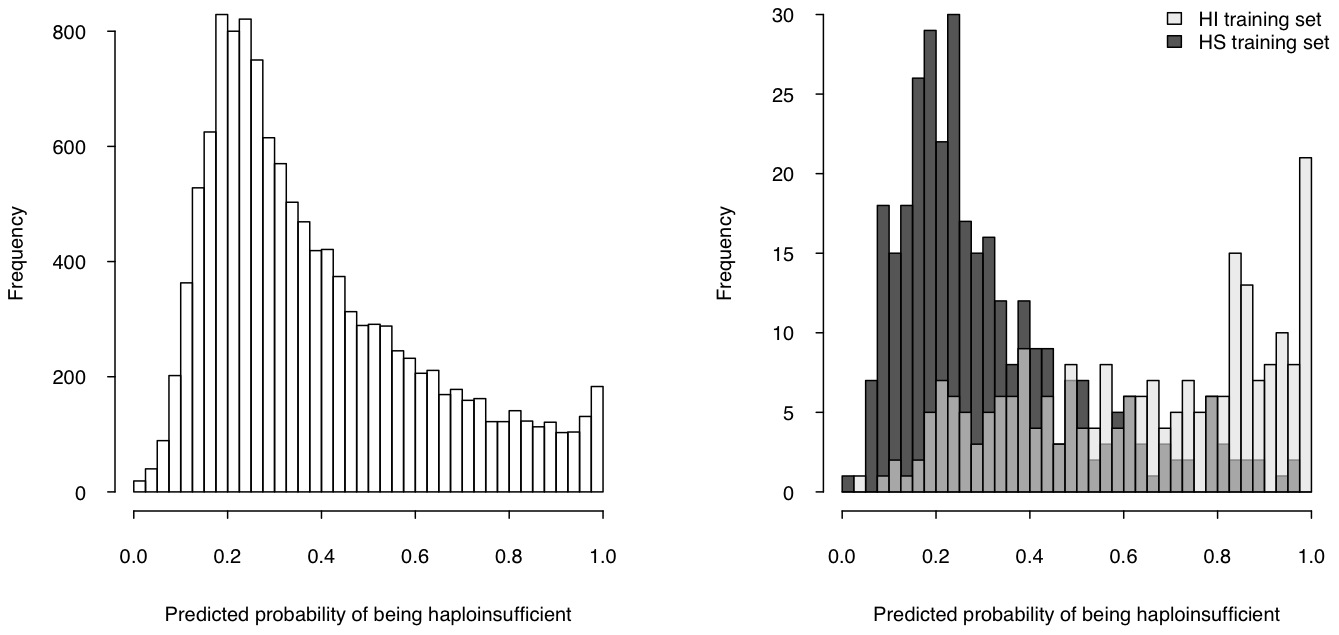 Predicted probability of being haploinsufficient across the genome.