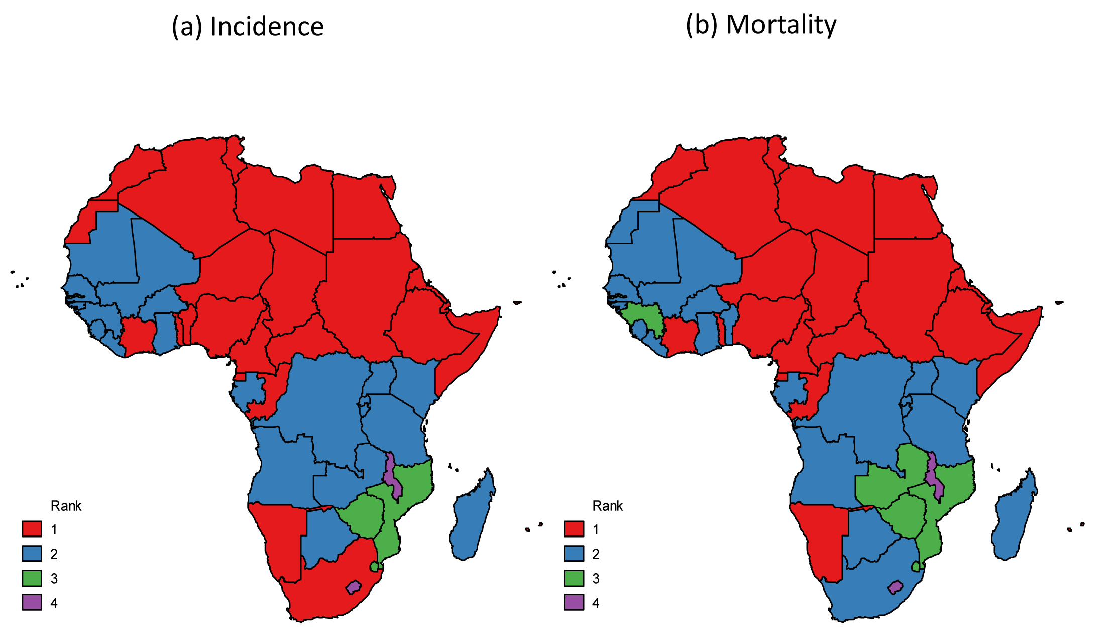 "Breast cancer ranking among women for (a) incidence and (b) mortality, Africa, 2012 <em class=""ref"">[1]</em>."