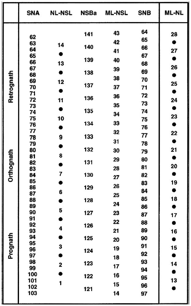 Segnerův-Hasundův box harmonie (prognath-prognátní typ obličeje, orthognath-ortognátní typ obličeje, retrognath-retrognátní typ obličeje)
