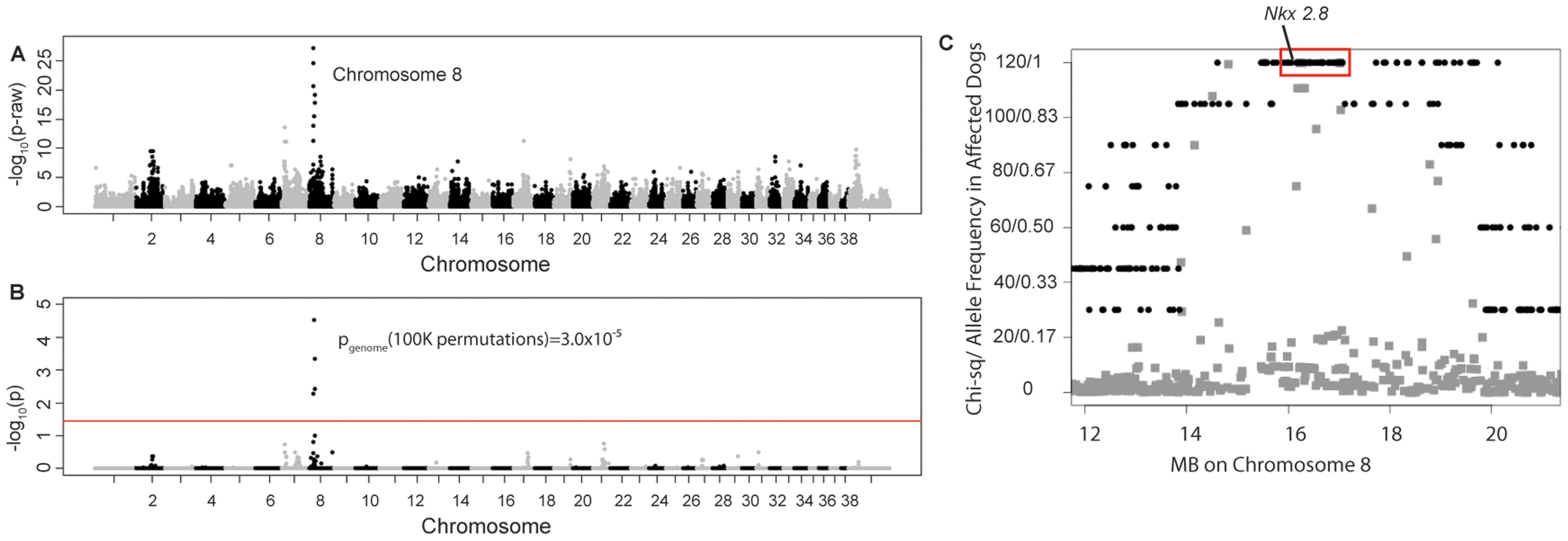 Manhattan plots of GWAS results for NTDs in Weimaraners (4 cases, 96 controls; λ=1.03).