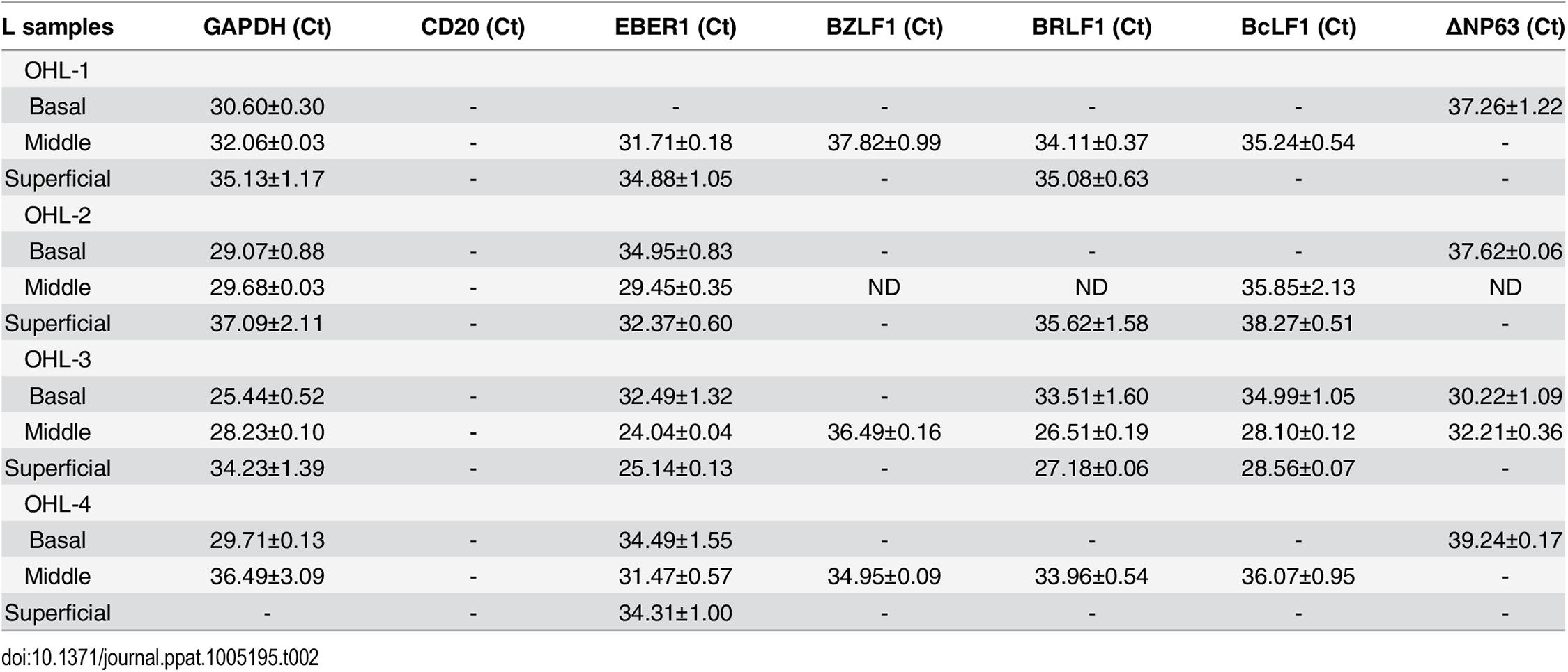 EBV transcript expression OHL lesions.