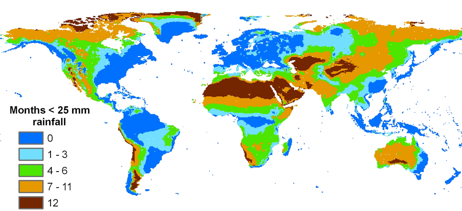 Global distribution of rainfall: The number of dry months in a year.