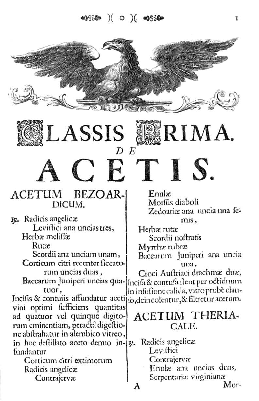 Titulní strana I. třídy lékových forem vídeňského dispenzatoria: Octy