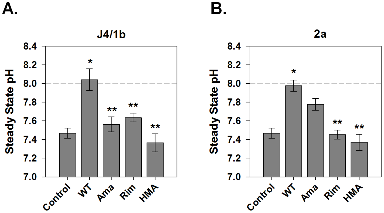 Sensitivity of p7-associated pH changes to known viroporin inhibitors.