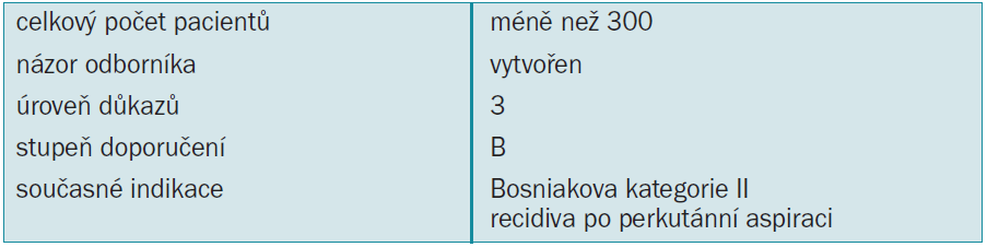 Tab. 3.16. Léčba renálních cyst: doporučení.