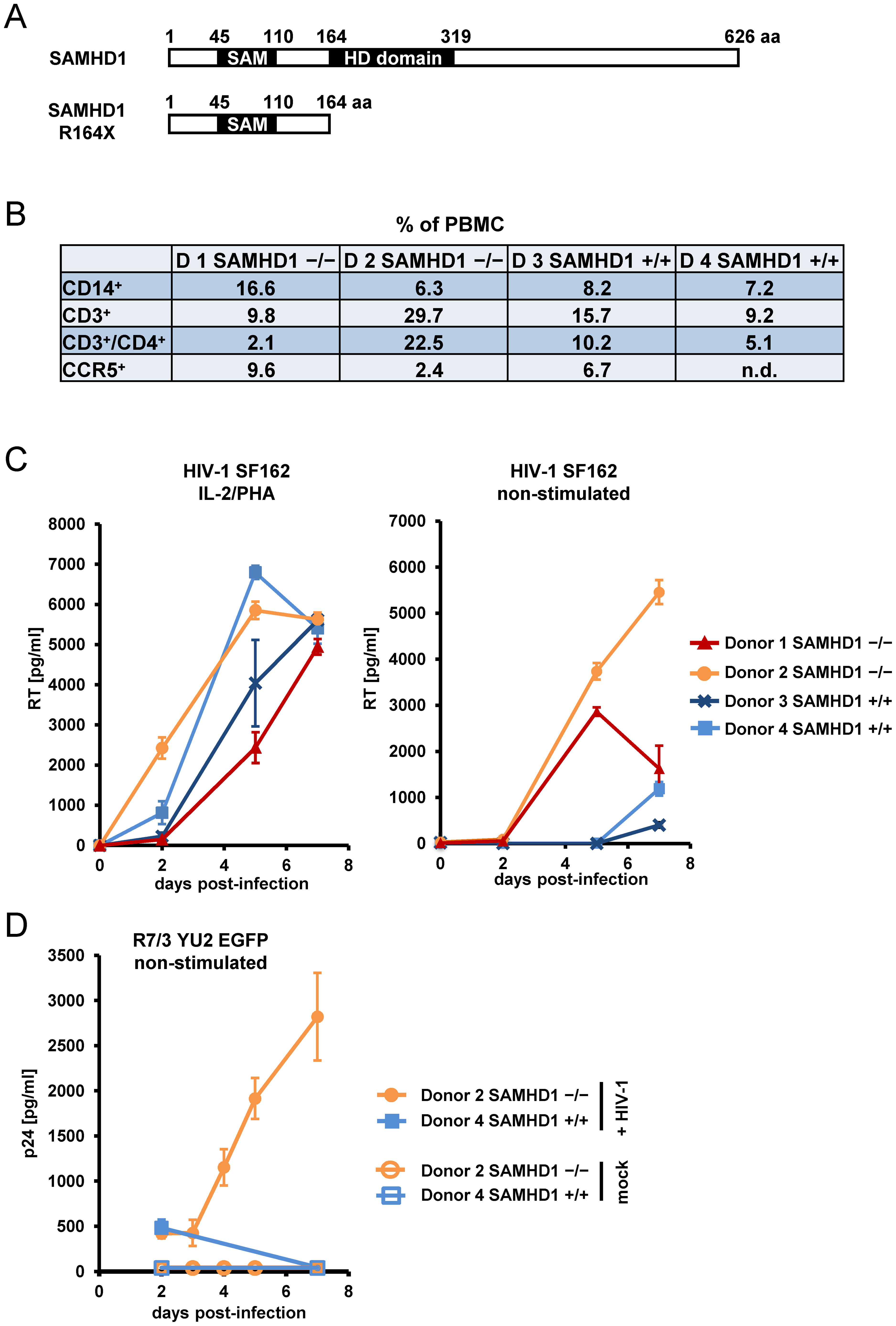 PBMC from AIcardi-Goutières syndrome patients homozygous for SAMHD1 mutation are highly susceptible for spreading HIV-1 replication.