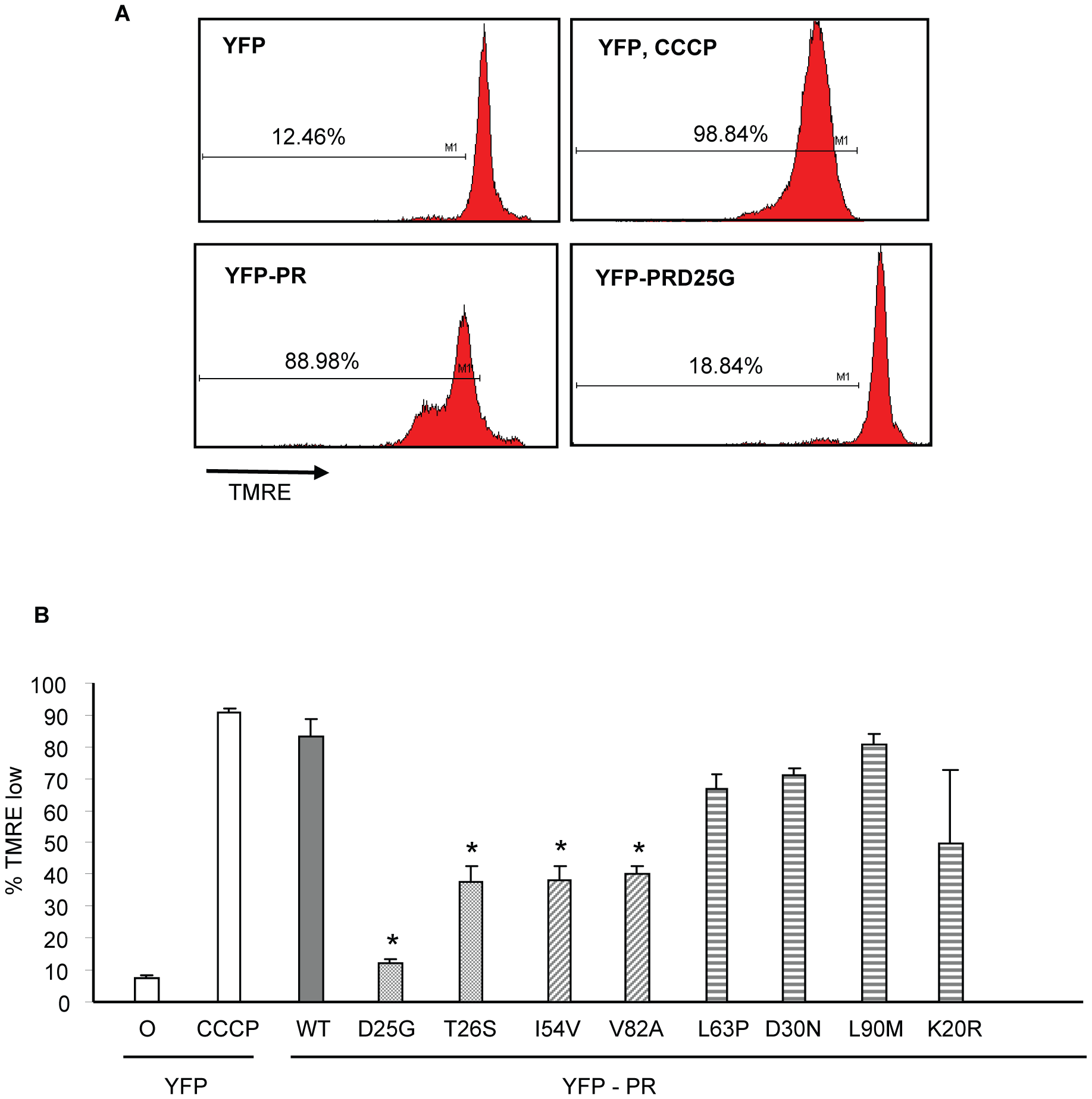 Discordance Associated Mutations (DAMs) within HIV-1PR alters the loss of mitochondrial transmembrane potential.