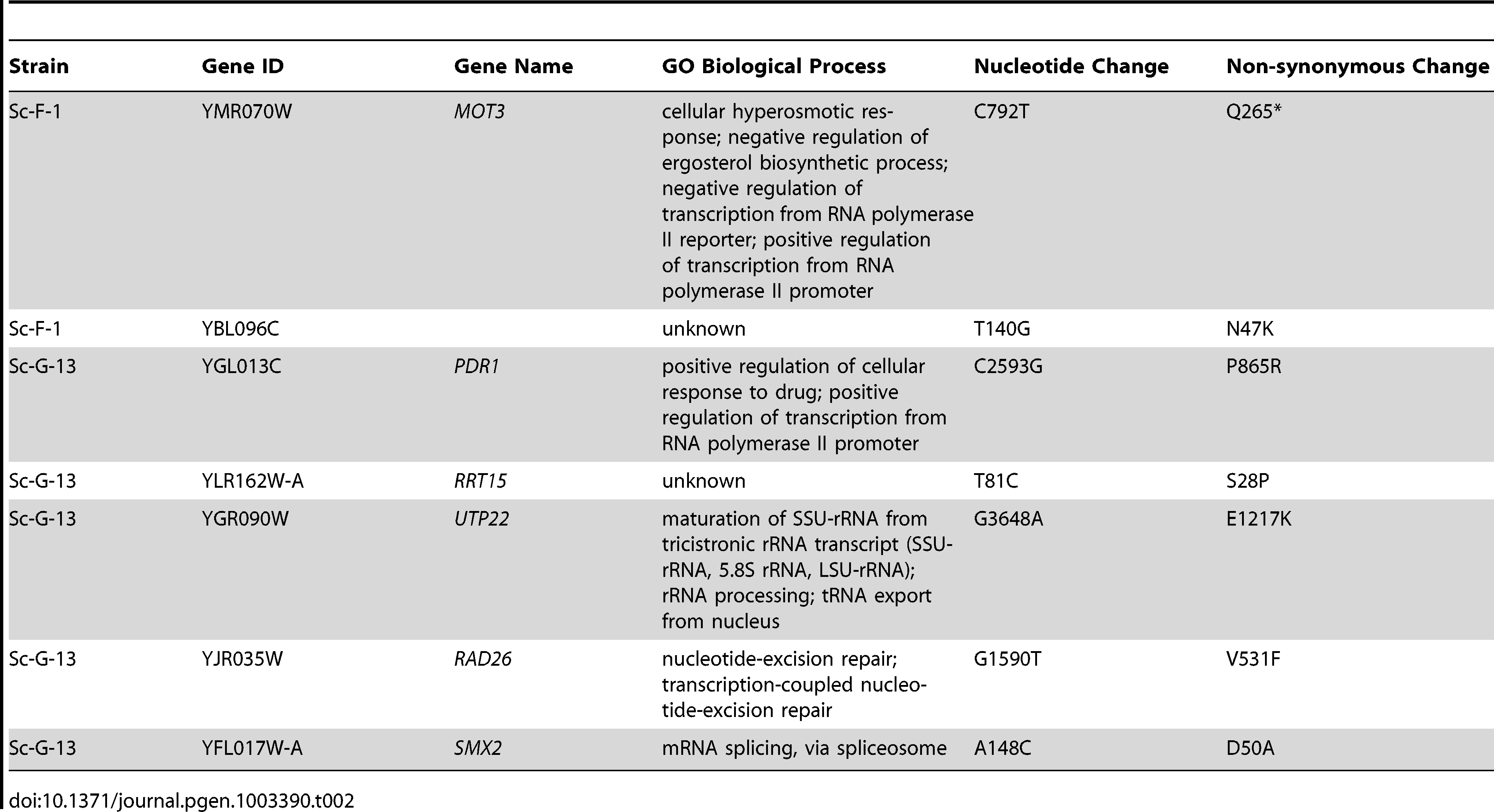Non-synonymous <i>S. cerevisiae</i> single nucleotide variants.