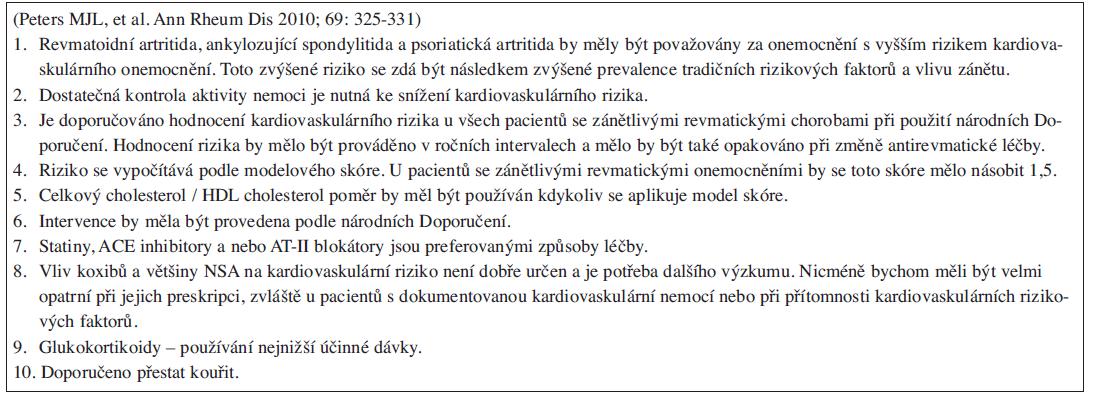 Doporučení EULAR pro vyhodnocování kardiovaskulárního rizika u pacientů s revmatoidní artritidou, psoriatickou artritidou a ankylozující spondylitidou.