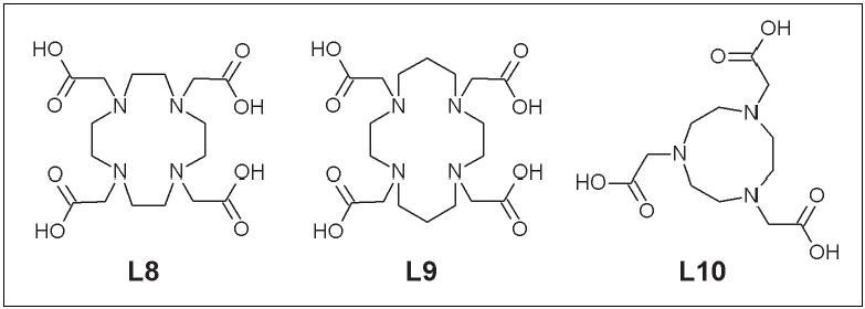 DOTA (L8), TETA (L9) a NOTA (L10).