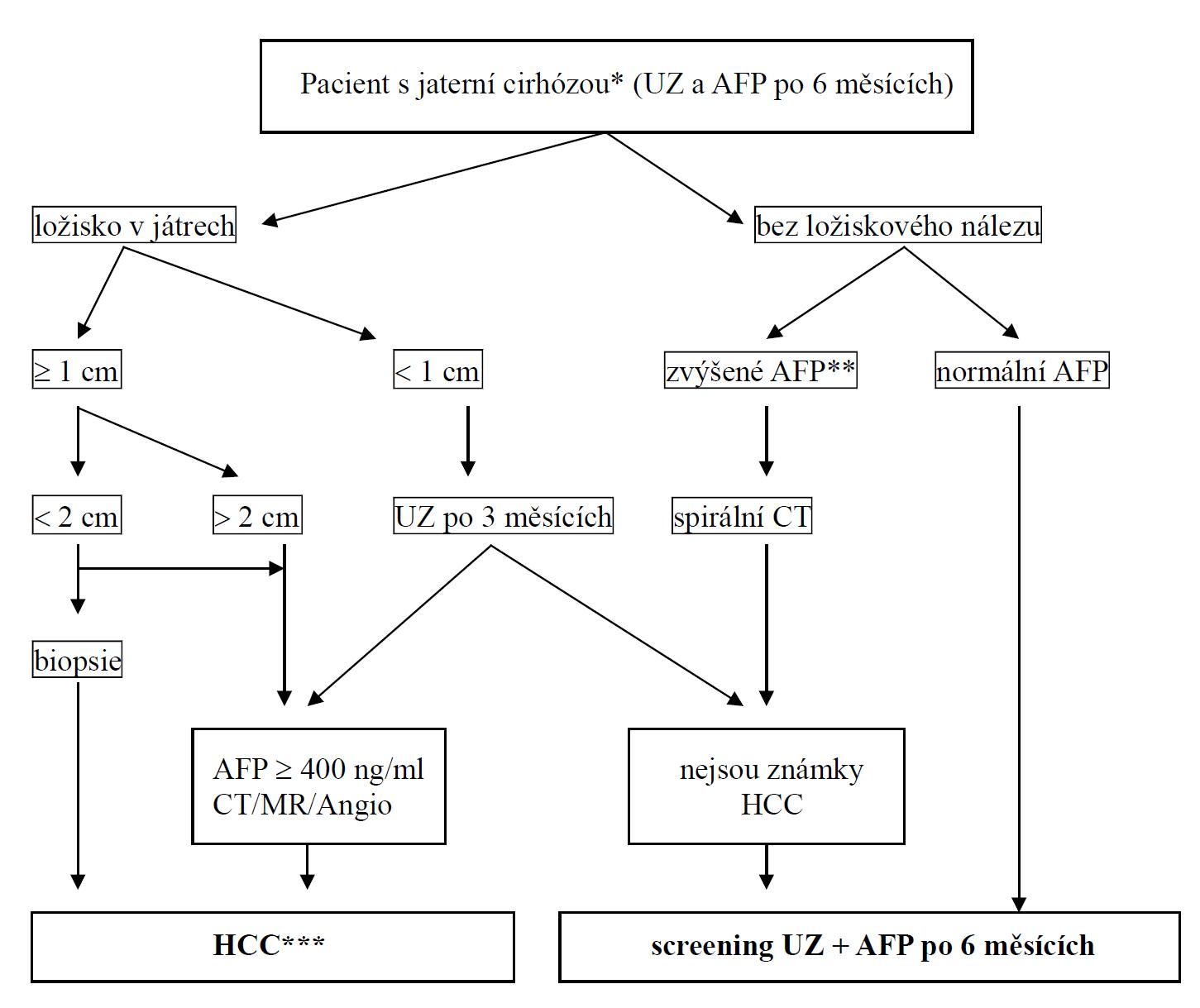 Diagnostický postup HCC (volně dle Llovet JM et al. Hepatocellular carcinoma. Lancet 2003; 362: 1907-1917).