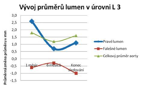 Průměrné změny velikostí jednotlivých lumin v úrovni L 3 Graph 3. Mean changes in the individual lumen sizes at the level of L 3