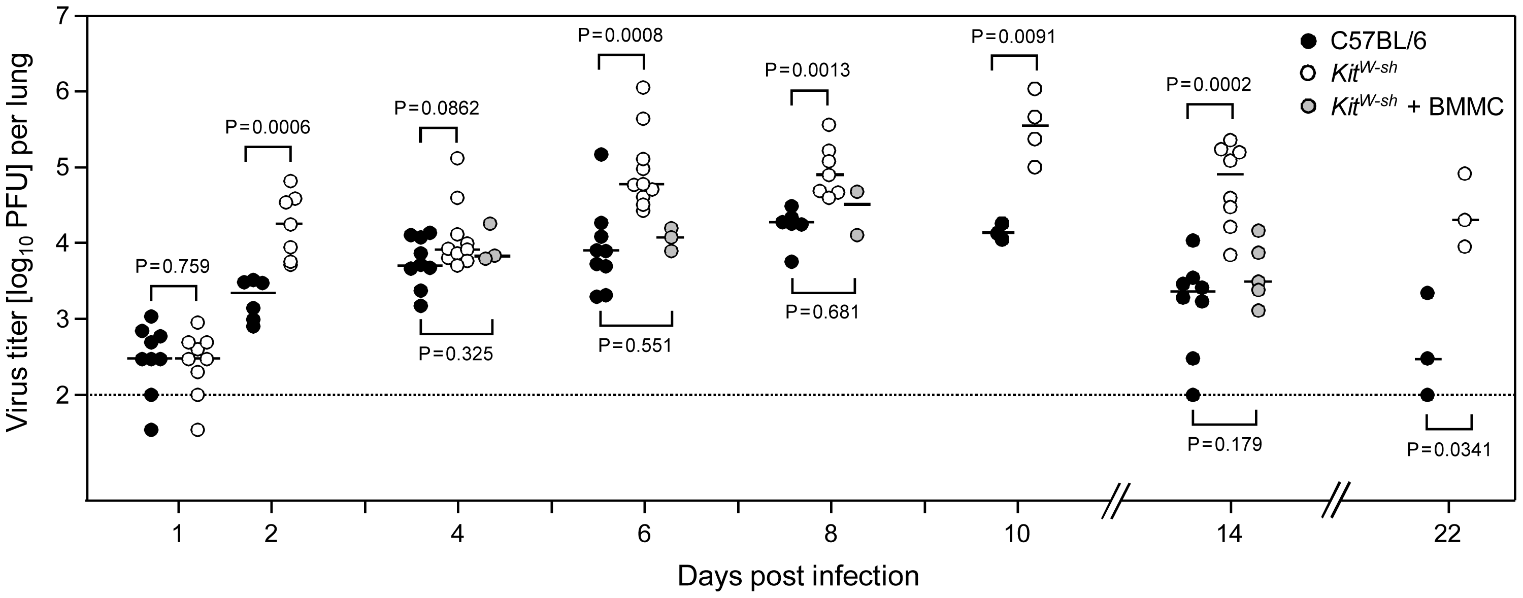 Enhanced virus replication and delayed clearance of productive infection in the lungs associated with MC deficiency are reversed by MC reconstitution.