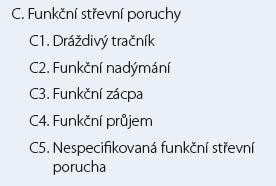 Římská klasifikace III. funkčních poruch střevních.