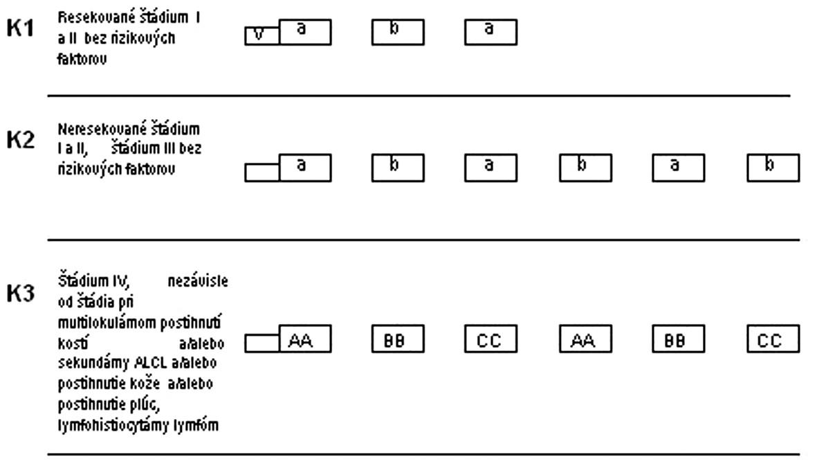 Protokol NHL BFM 95 – III. terapeutická skupina.  K1, K2, K3 – rizikové skupiny, V – predfáza, a, b, AA, BB, CC – jednotlivé cykly chemoterapie V: predfáza: dexametazón, cyklofosfamid, i. th: metotrexát, cytarabín, prednizolón a: dexametazón, metotrexát 500 mg/m<sup>2</sup> v 24-hod. + leukovorín, ifosfamid, cytarabín, etopozid, i. th metotrexát, cytarabín, prednizolón AA: dexametazón, vincristín, metotrexát 5g/m<sup>2</sup> v 24-hod. inf. + leukovorín, ifosfamid, cytarabín, etopozid, i. th metotrexát, cytarabín, prednizolón b: dexametazón, metotrexát 500 mg/m<sup>2</sup> v 24-hod. inf. + leukovorín, cyklofosfamid, doxorubicín, i. th metotrexát, cytarabín, prednizolón BB: dexametazón, vincristín, metotrexát 5g/m<sup>2</sup> v 24-hod. inf. + leukovorín, cyklofosfamid, doxorubicín, i. th metotrexát, cytarabín, prednizolón CC: dexametazón, vindezín, cytarabín, etopozid, i. th metotrexát, cytarabín, prednizolón