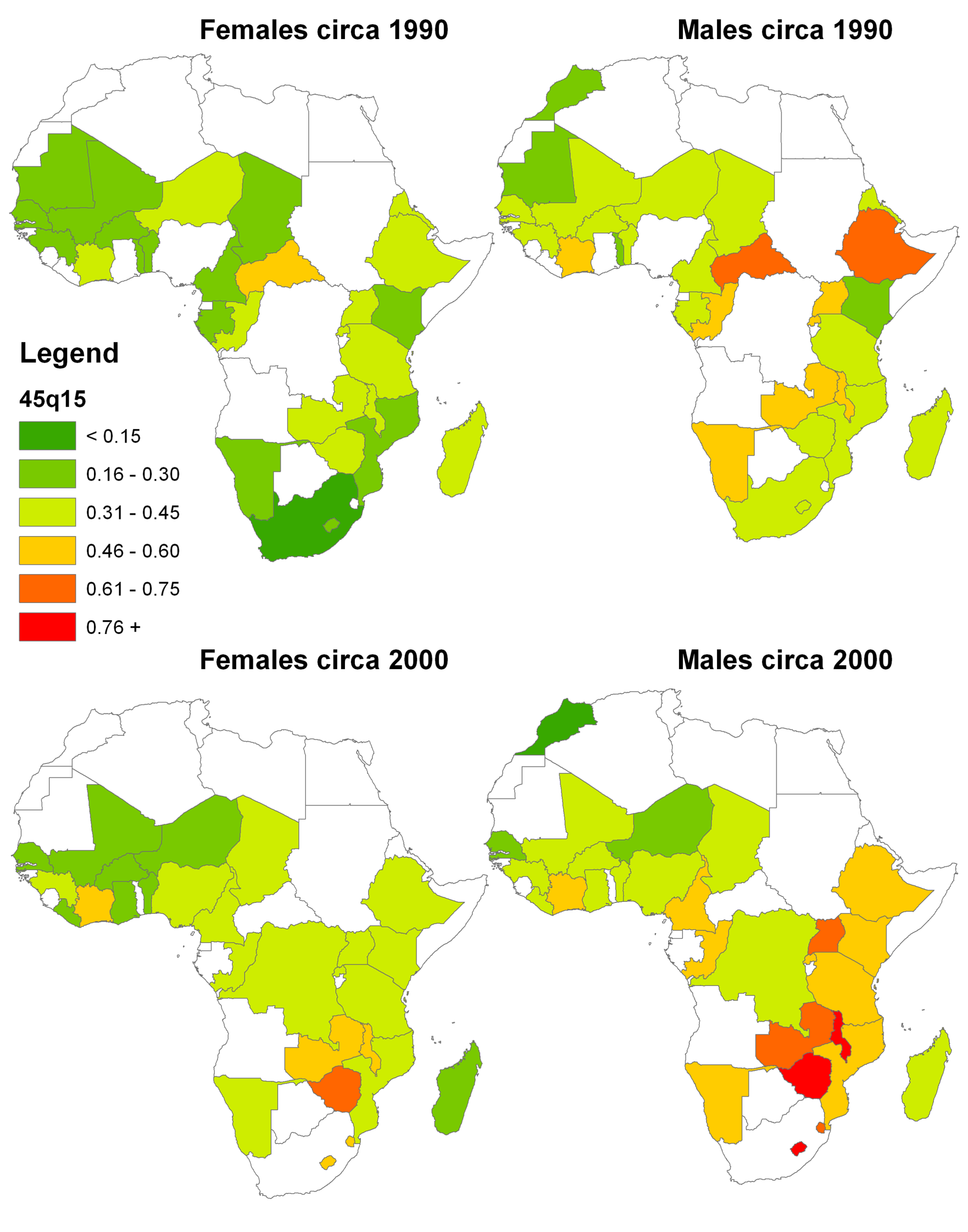 CSS-generated estimates of <sub>45</sub><i>q</i><sub>15</sub> for African countries with DHS data, 1990 and 2000.