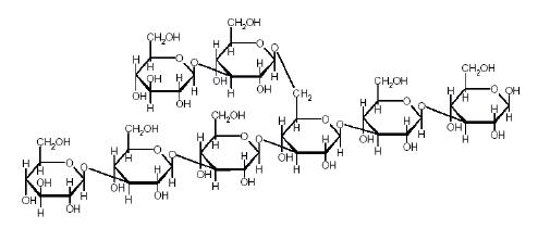 Struktura 1-->3,1-->6-β-glukanu (upraveno dle citace (32))