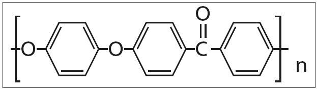 Vzorec polyéteréterketonu (PEEKu).