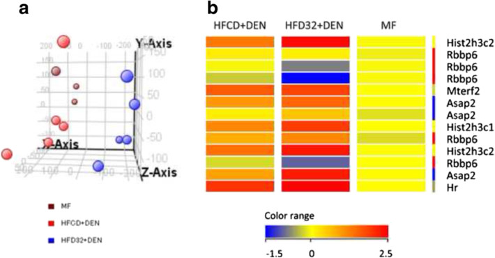 Expression of MF, HFCD + DEN, and HFD32. a Principal component analysis of MF (brawn), HFCD + DEN (red), and HFD32 + DEN (blue). MF group contained three mice. HFCD + DEN and HFD32 + DEN group contained five mice. b Heat map of HCC-related genes common to both HFCD + DEN and HFD32 + DEN. DEN, diethylnitrosamine; standard diet (MF); HFCD, high-fat, choline-deficient diet; HFD32, high-fat diet