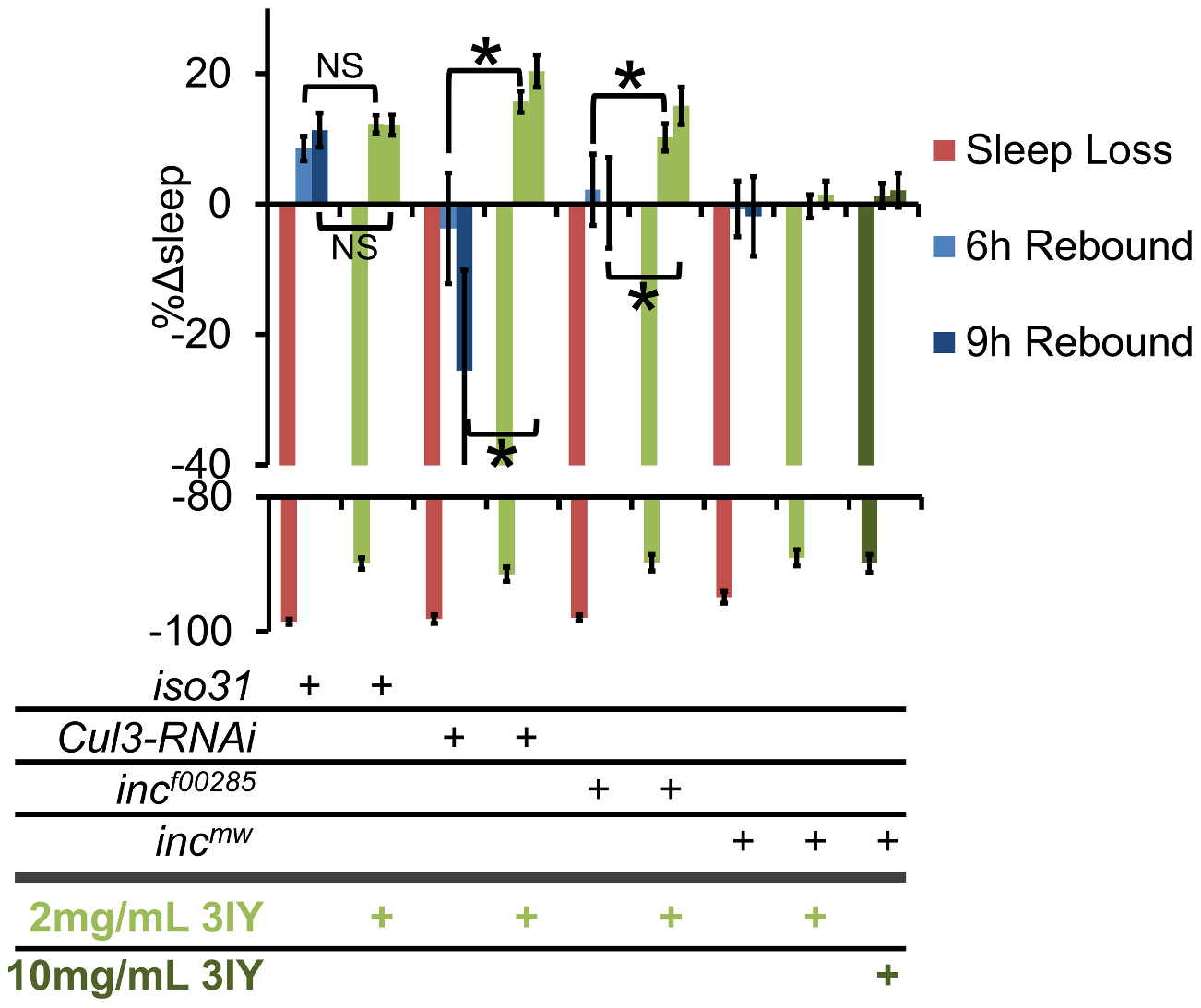 3IY rescues sleep homeostasis defects in <i>Cul3-RNAi</i> and <i>inc<sup>f00285</sup></i> but not <i>inc<sup>mw</sup></i>.