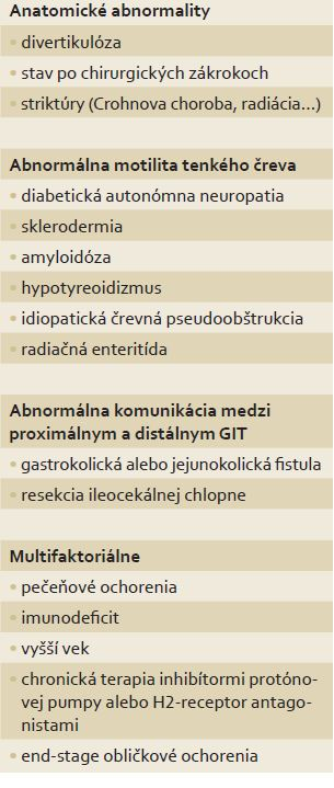 Klinické stavy spojené so SIBO.