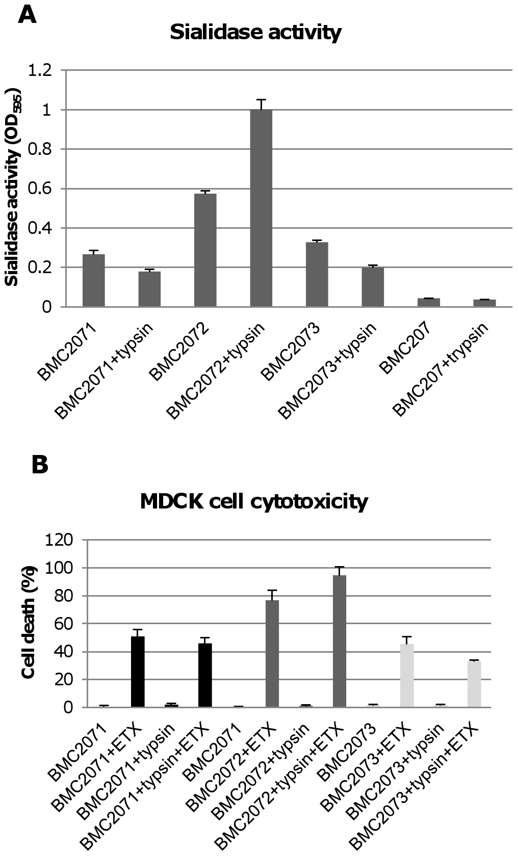 Sialidase activity and cytotoxicity for MDCK cells caused by culture supernatants from complementing strains.