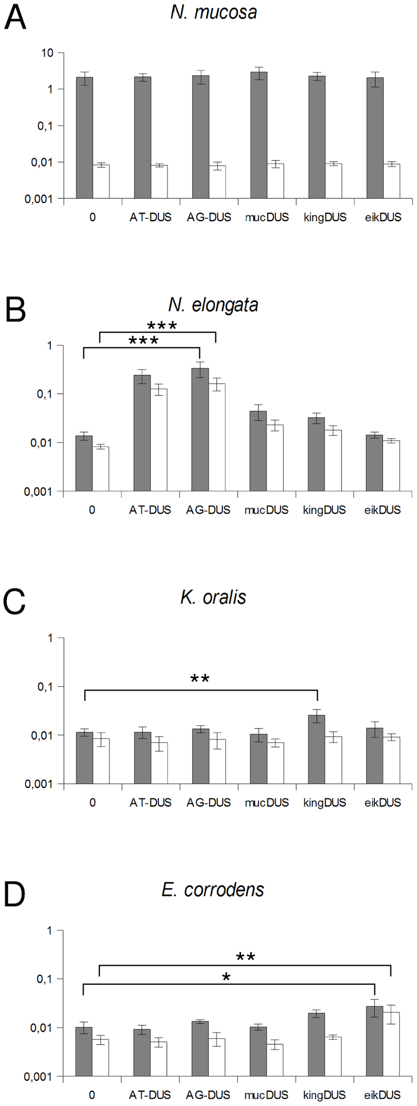 Quantification of DNA binding and uptake of <i>Neisseriaceae</i> with different DUS variants.