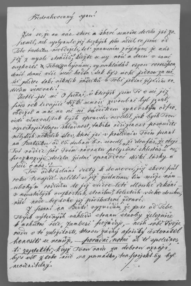 Poslední dopis F. Holuba synovi z 6. června 1879
