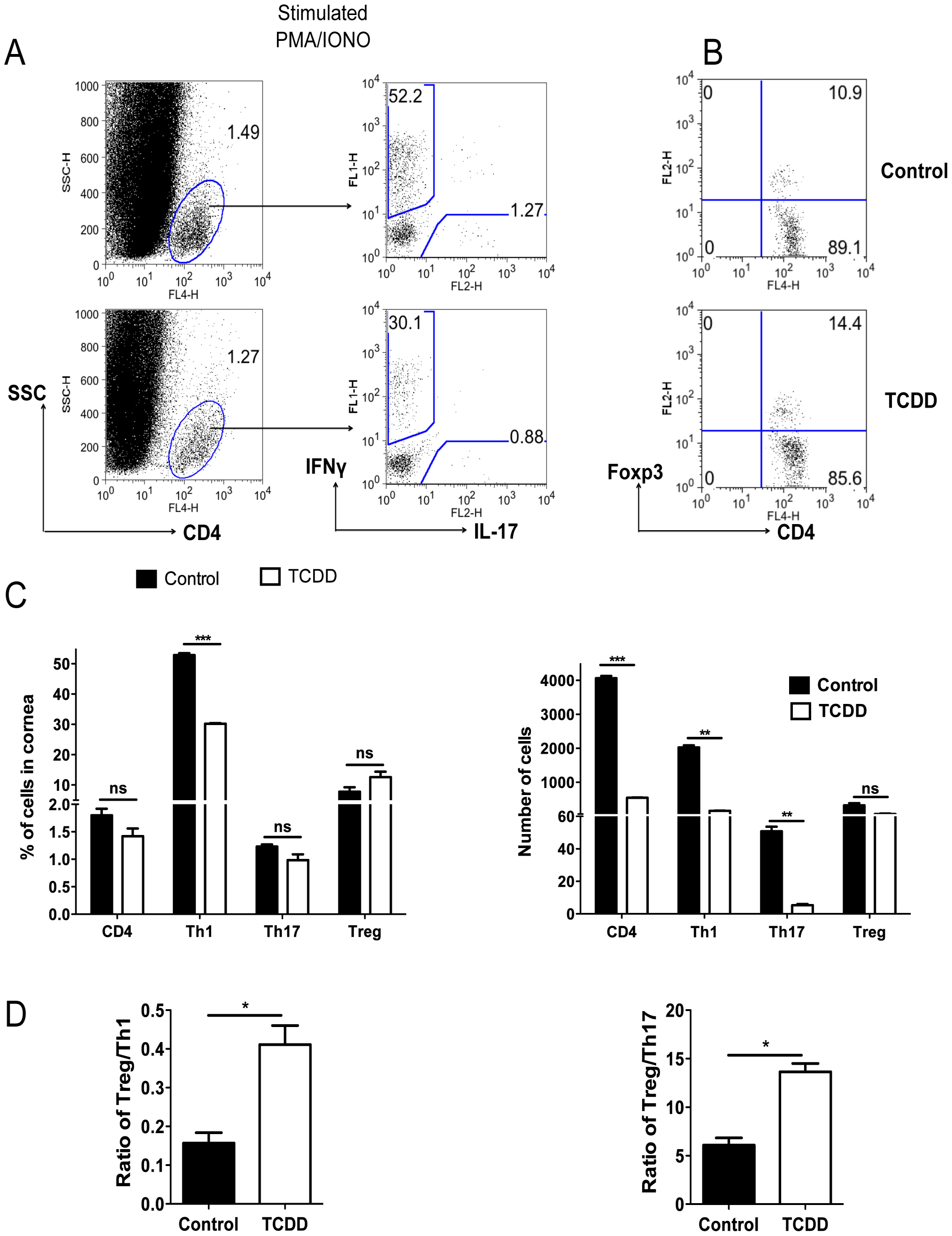 TCDD treatment shifts the balance from T effectors to T regulatory cells after HSV infection.